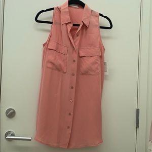 Pink Sleeveless Equipment Silk Top Size Small